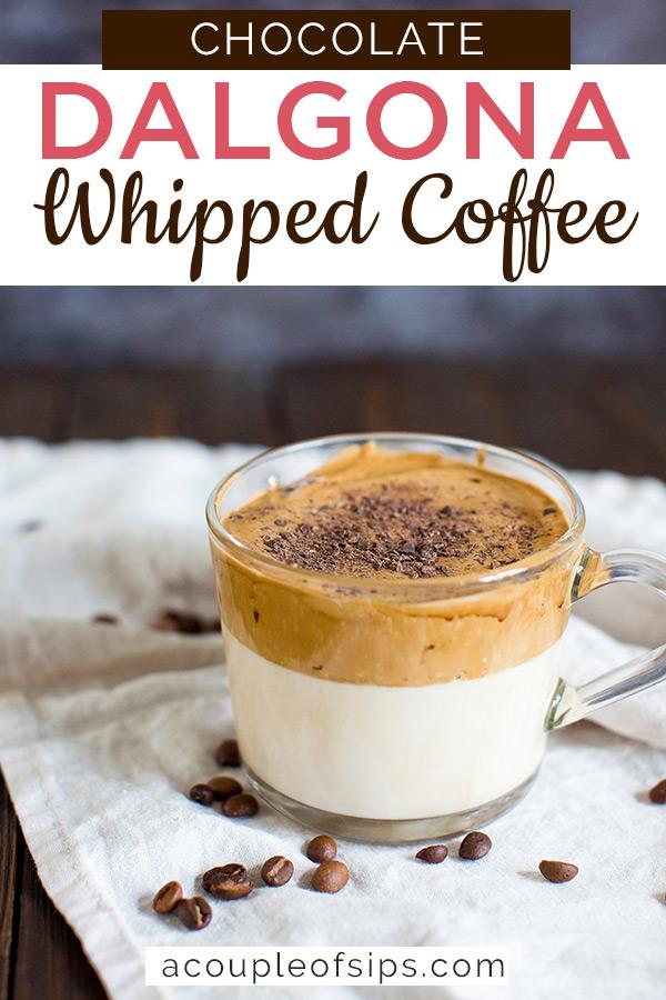 Chocolate dalgona coffee Pinterest graphic
