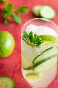 Cucumber mojito cocktail