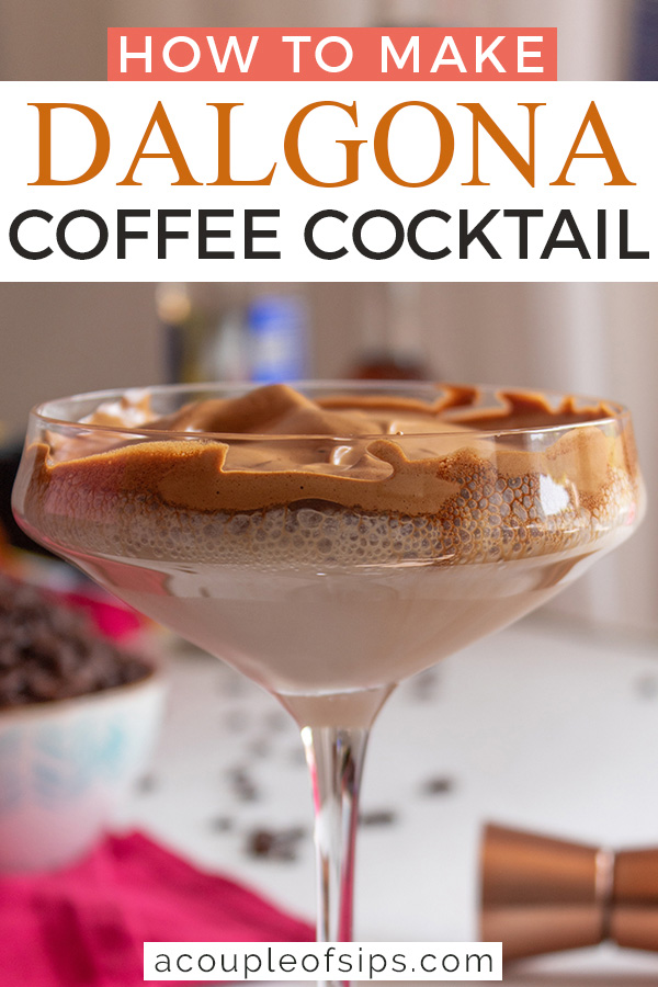 Dalgona coffee cocktail Pinterest graphic