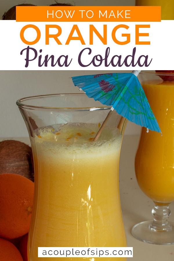 Orange pina colada pinterest graphic