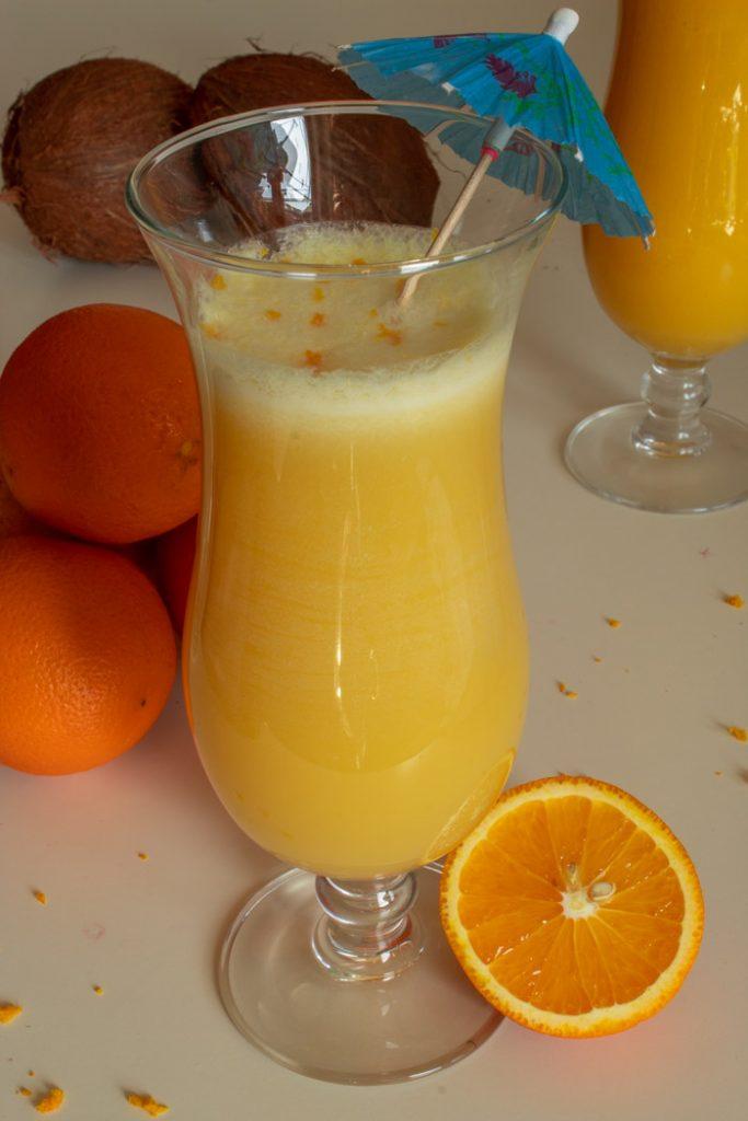 Orange pina colada glass