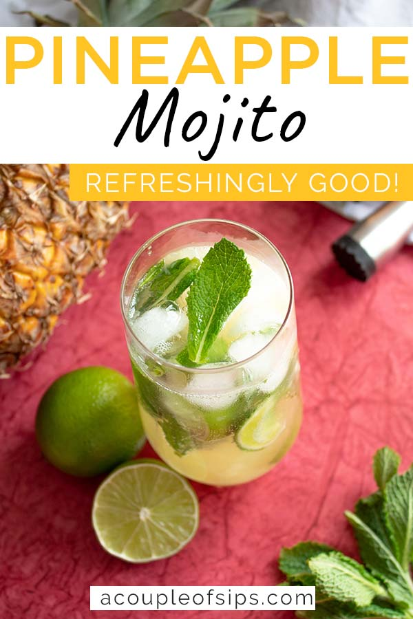 Pineapple Mojito Cocktail pinterest graphic