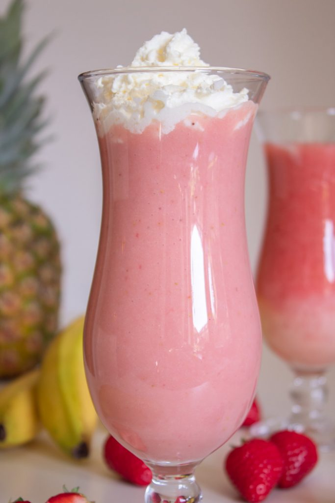 Strawberry banana pina colada cocktail