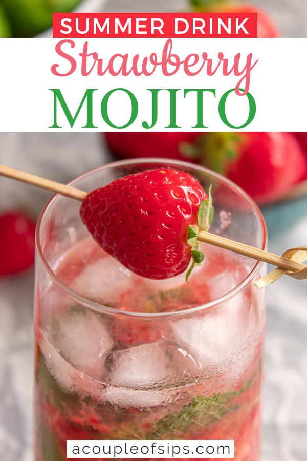 Strawberry mojito Pinterest graphic